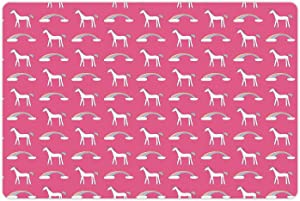 Lunarable Unicorn Party Pet Mat for Food and Water, Magic Fantasy Animal with Rainbow Clouds Childish Cartoon Print, Non-Slip Rubber Mat for Dogs and Cats, 18