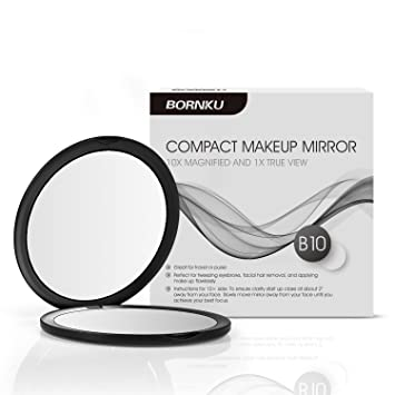 Bornku Makeup Mirror B10 Compact Magnifying Make Up Mirror Pocket Portable  Double Sided Mirrors With 10x