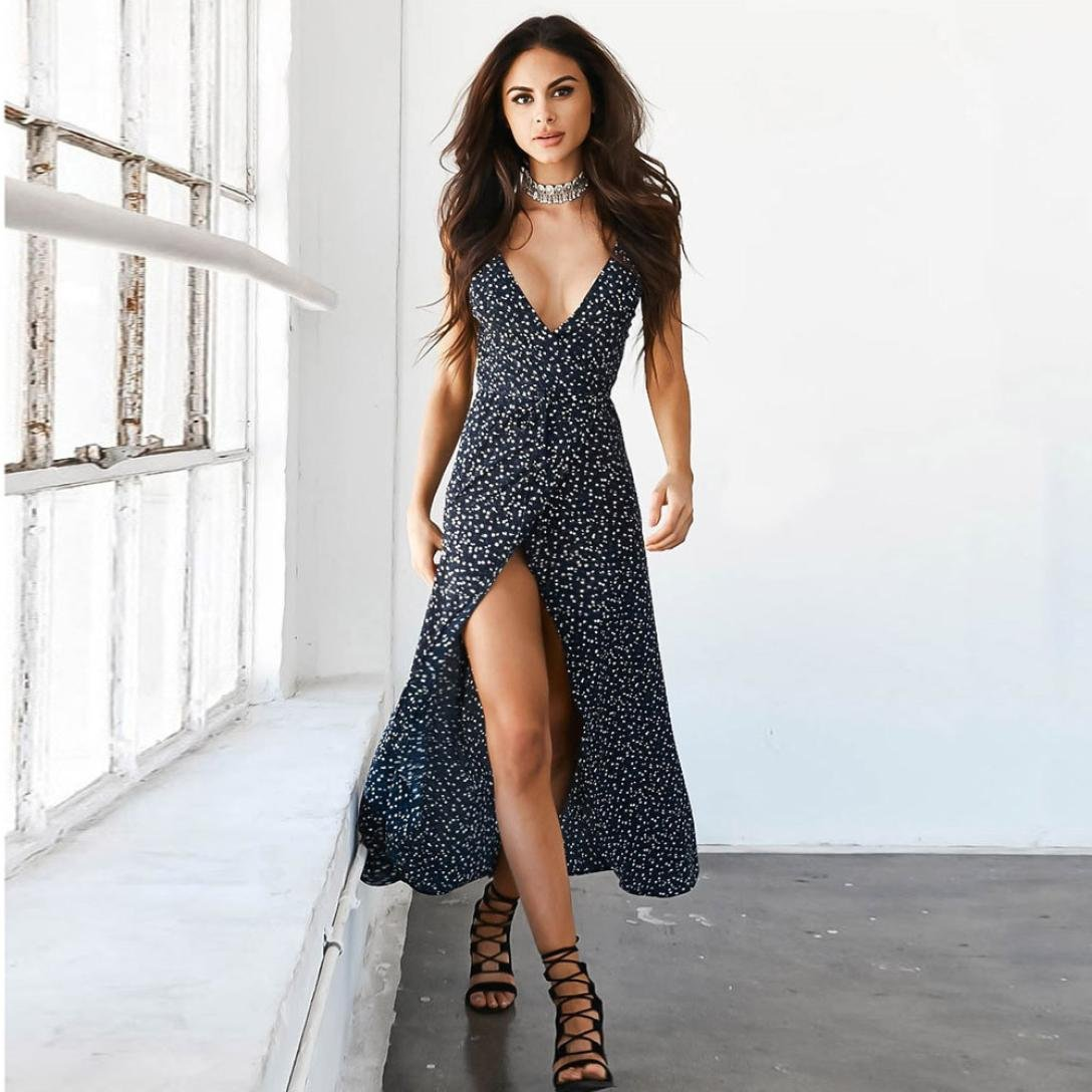 47c372acfc7 Hot Sale!!! 2018 New Ladies Evening Party Dress, Balakie Women Sexy V-Neck  Sleeveless Floral Print Beach Dresses (M, Black)