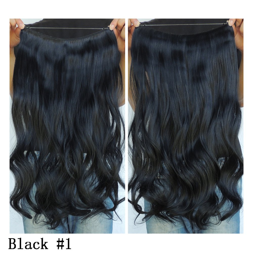 Amazon Black Hair Extensions No Clip In Halo Hairpiece Long 18