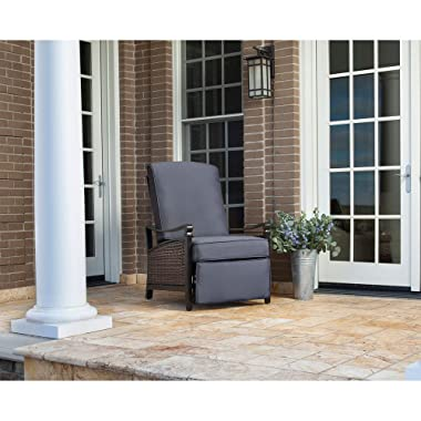 La Z Boy Hanover IND Carson Rust-Free Aluminum Wicker Recliner Patio Chair Outdoor Furniture, Indigo