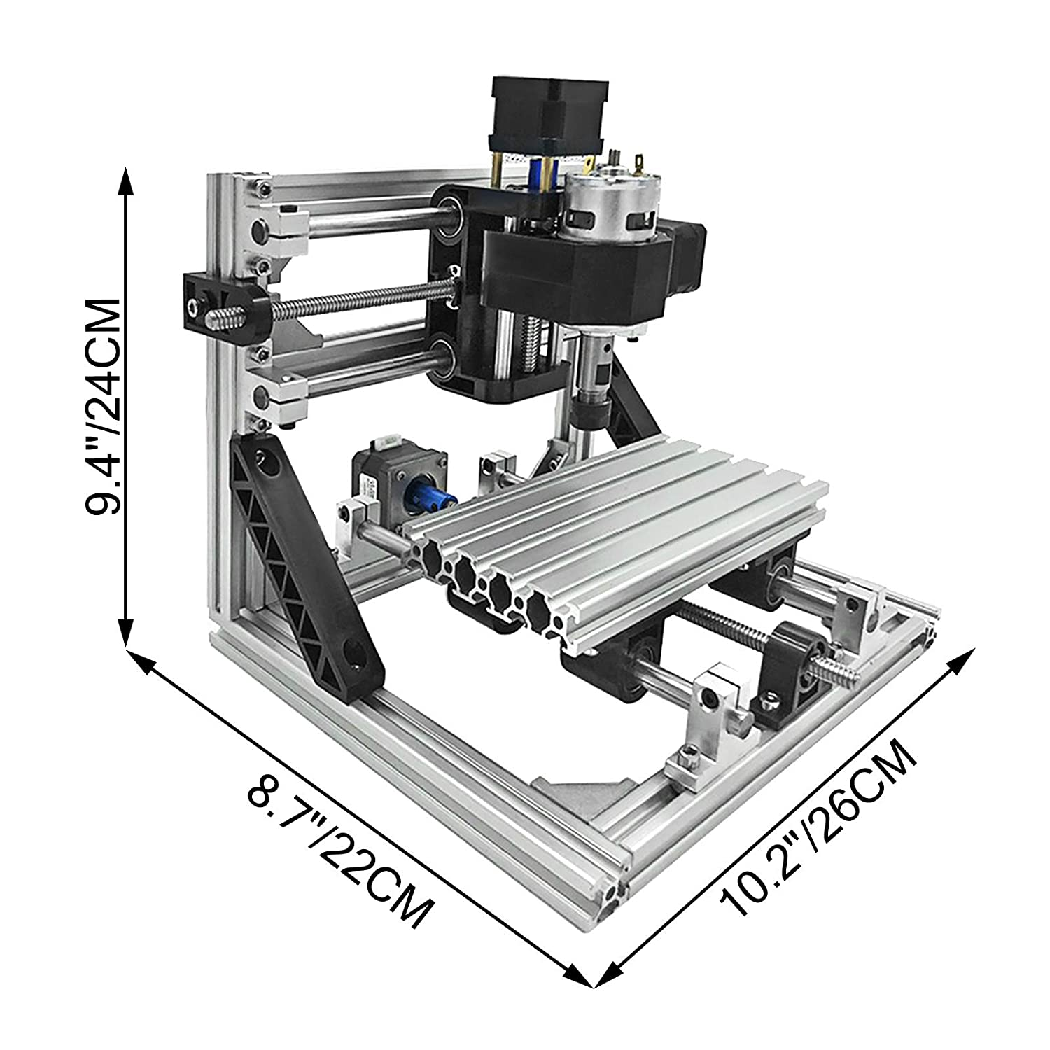 Mophorn CNC Machine 1610 Grbl Control Cnc Router Kit 3 Axis Pcb Laser Engraver 160X100X40MM With 500mW Blue Light Laser Module And Table Lamp