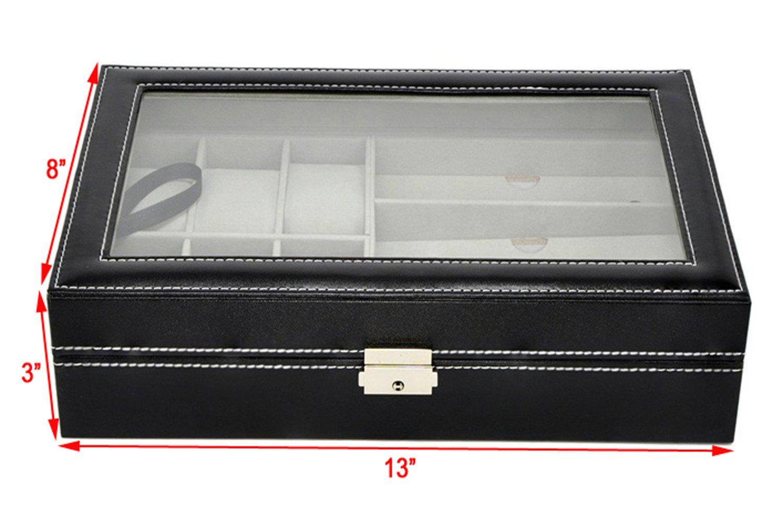 Autoark Leather 6 Watch Box Jewelry Case and 3 Piece Eyeglasses Storage and Sunglass Glasses Display Case Organizer,Black,AW-004 by Autoark (Image #4)