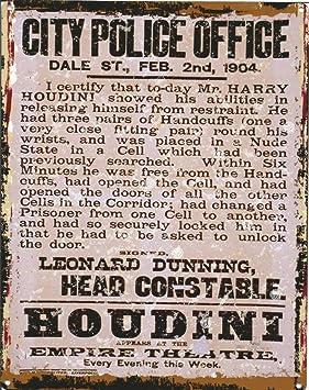 8 x 10in Harry Houdini cartel de metal retro estilo vintage ...