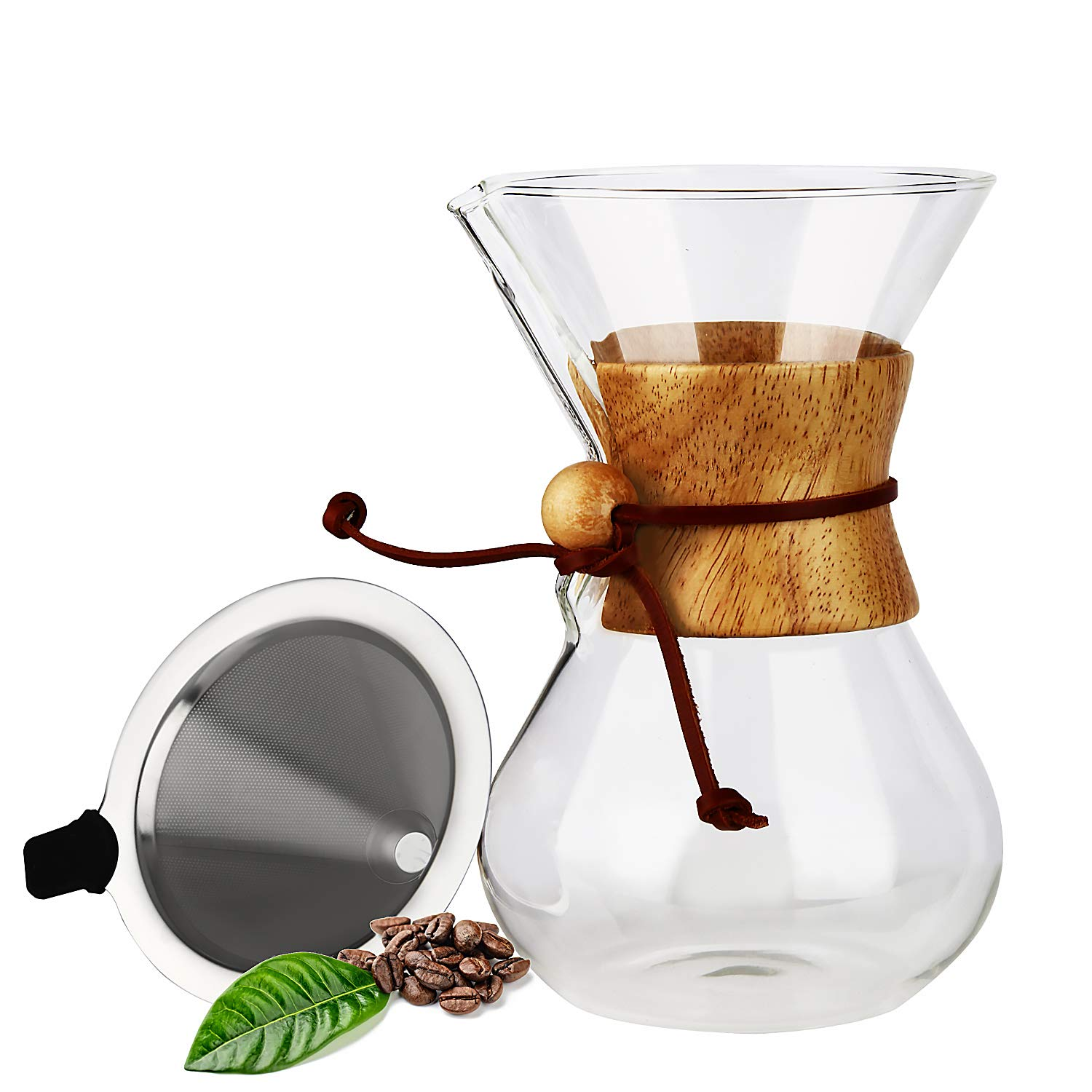 OAMCEG 20 oz Borosilicate Glass Carafe and Reusable Stainless Steel Permanent Filter Manual Coffee Dripper Brewer with Real Wood Sleeve Pour Over Coffee Maker