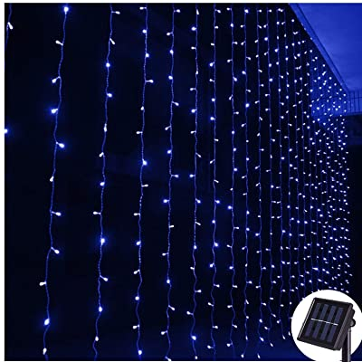 DBFairy Curtain Lights, Solar Powered 200 LED, 6.6ft x 6.6ft, 8 Mode, Icicle Lights String Fairy Lights for Christmas Family Tree Lawn Tent Balcony Courtyard Stage Porch Decoration, Dark Green Cable-Blue : Garden & Outdoor