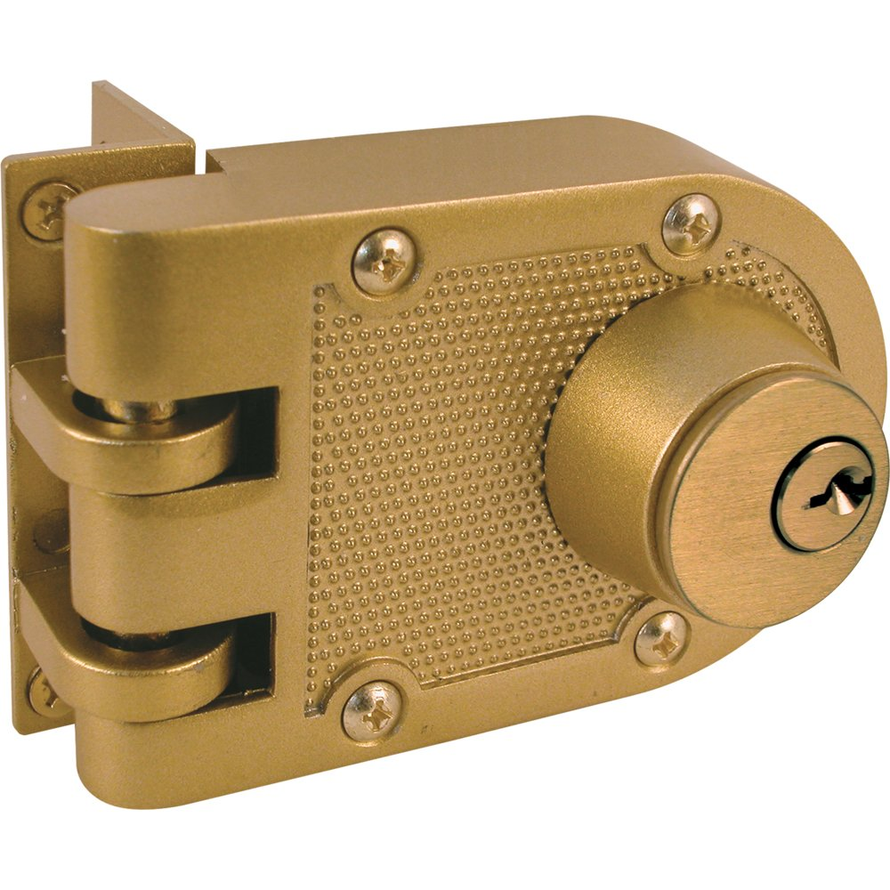 Prime Line Products U 9972 Jimmy Resistant Deadlock, Diecast, Brass Color,  Angle Strike, Double Cylinder   Door Dead Bolts   Amazon.com