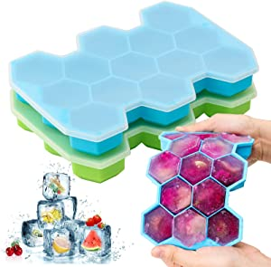Ice Cube Tray, Chrider 2 Pack Silicone Ice Cube Trays With Lid Flexible 26-Ice Tray BPA Free for Whiskey & Cocktails, Stackable Safe Ice Trays