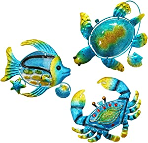 TENGZHEN Set of 3 Metal Sea Wall Art Beach Theme Metal Sea Turtle Fish and Crab with Blue Ocean Glass Hanging Beach Decoration Perfect Indoor or Outdoor Decorations for Home Garden Bedroom