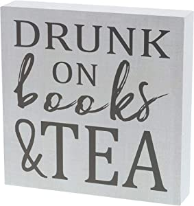"""Barnyard Designs Drunk On Books & Tea Box Wall Art Sign Primitive Country Home Decor Sign with Sayings 8"""" x 8"""""""