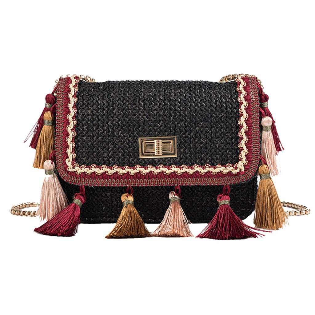 Fashionhe Crossbody Bag Women Weaving Tassel Shoulder Bag Messenger Bag Beach Bag Cosmetic Bag Handbag(Black)