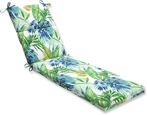72.5″ Blue and Green Caribbean Forest Outdoor Patio Chaise Lounge Cushion