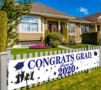Amazon Com Large Congrats Grad Banner College Grad And High School Graduation Party Supplies Decorations 2020 Graduation Decorations Black And Blue Graduation Party Background Outdoor Indoor 9 8 X 1 6 Feet Health Personal Care