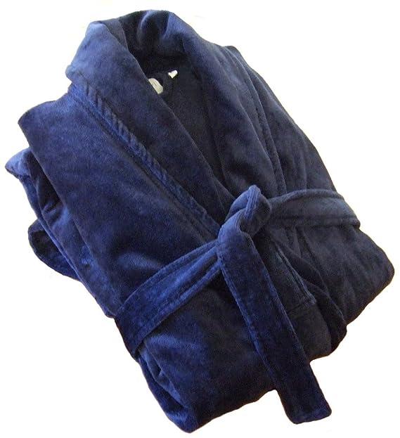 John Christian - Albornoz de terciopelo 100% algodón - Azul Marino - Hombre (M