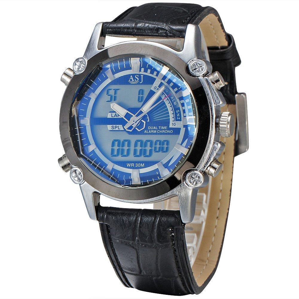 ASJ新しい腕時計メンズラグジュアリーブランドASJメンズクォーツLEDデジタルクロックMan Army Militaryスポーツ腕時計Relogio Masculinoギフト 1# B0725GLXN7 1# 1#