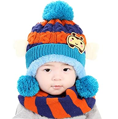 8cda4050882f AnKoee Mignon Enfants d hiver Bébé Chapeaux,Bonnet pour Bébé Fille Garçon  (Bleu
