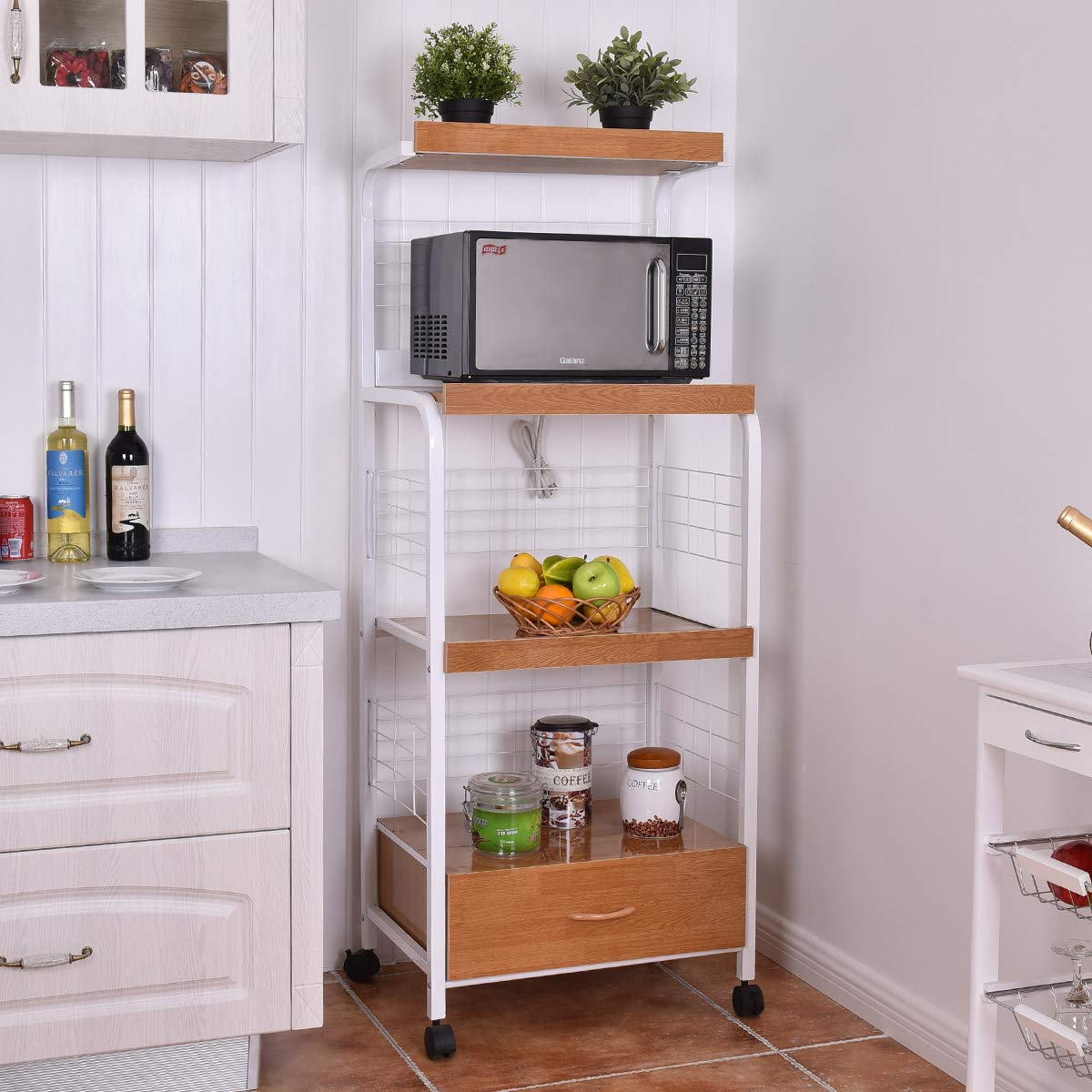 Giantex Microwave Cart Kitchen Baker's Rack Microwave Oven Stand Rolling Kitchen Storage Cart Utensils Organizer w/Electric Outlet and Drawer by Giantex (Image #2)