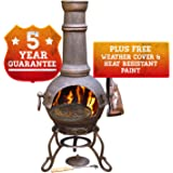 Chimnea - Large Cast Iron Chiminea With Swivel Barbecue BBQ Grill by Gardeco - Perfect to Heat Your Patio All Year Round