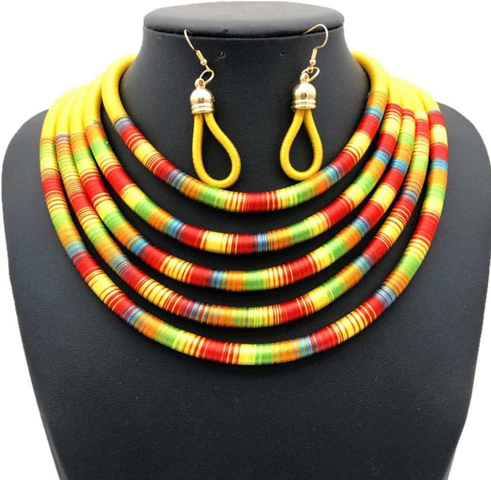 Holibanna Necklace Earrings Set African Style Multilayer Magnetic Buckle Choker Clavicle Chain Neckchian Necklace Jewelry Neck Accessories Gift for Women Girls Red