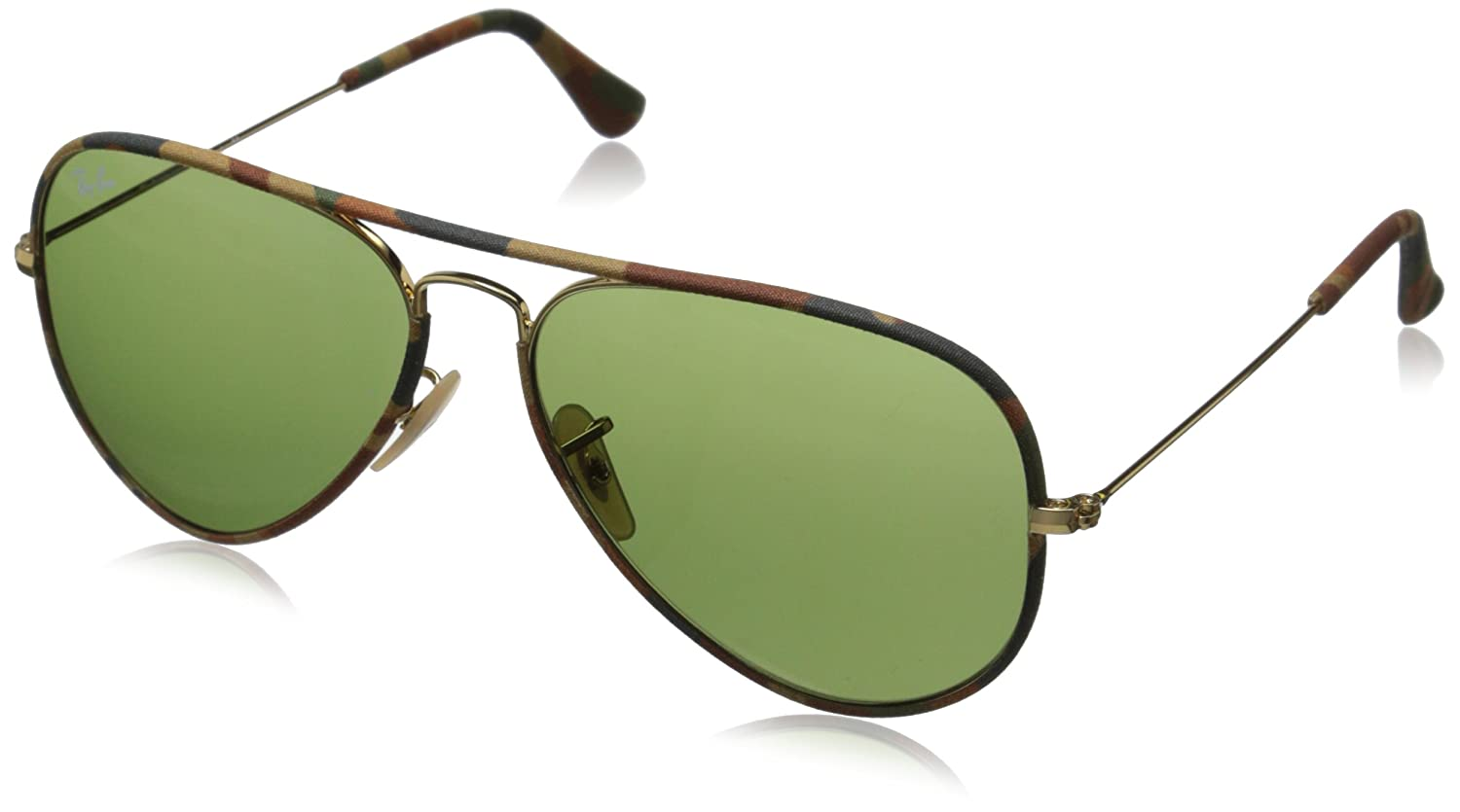 25f9dacb2c Amazon.com  Ray-Ban AVIATOR FULL COLOR - GOLD Frame GREEN Lenses 58mm Non- Polarized  Ray-Ban  Clothing