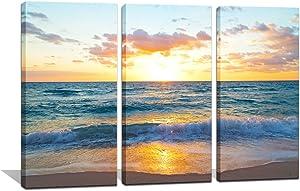 Noah Art-Ocean Art Print Contemporary Seascape Artwork Sunrise Over The Ocean in Miami Beach Pictures on Canvas Print 3 Piece Wooden Framed Ocean Wall Art for Living Room, 12x24inchx3pcs