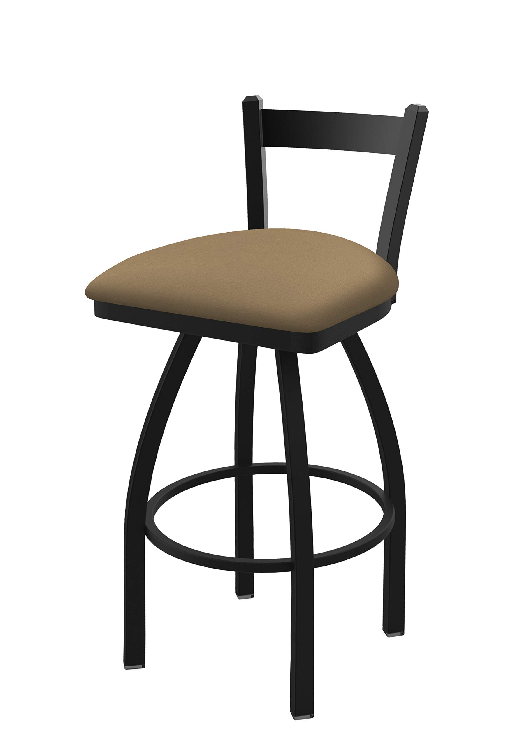 Holland Bar Stool Co. 82125BW013 821 Catalina 25'' Low Back Swivel Counter Black Wrinkle Finish and Canter Sand Seat Bar Stool