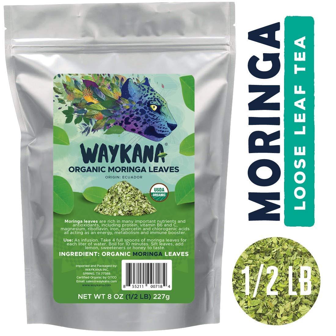 WAYKANA Organic Moringa Leaf, 8 Ounce | Multi Vitamins Premium Quality Nutritious Loose Leaf Tea