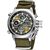 eYotto Men's Sports Digital Watches Nylon Canvas Strap Military Wrist Watch Quartz Analog Display 30M Waterproof Army Green