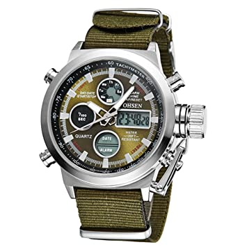 Image result for eYotto Men's Sports Digital Watches Nylon Canvas Strap Military Wrist Watch Quartz Analog Display 30M Waterproof Army Green
