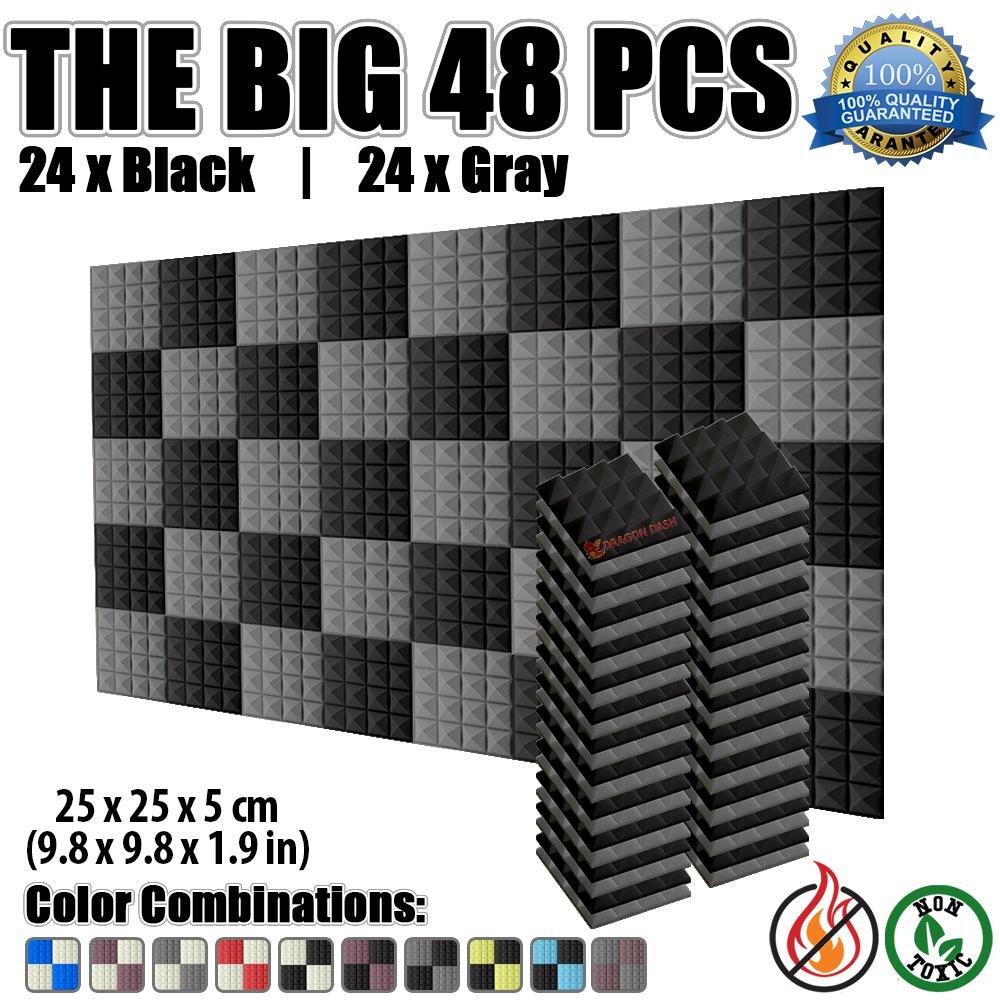 Super Dash 48er Pack, Pyramid Akustik-Fliesen-Schaum, Schalldämmplatten, SD1034 25 x 25 x 5 cm, für das Studio zu Hause, schalldichte Fliesen, BLACK & BURGUNDY, 25 X 25 X 5 cm Schalldämmplatten