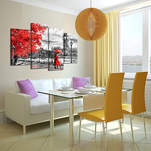 Kreative Arts - 4pcs Contemporary Wall Art Black White and Red