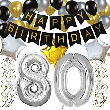 KUNGYO Classy 80TH Birthday Party Decorations Kit Black Happy Brithday BannerSilver 80 Mylar