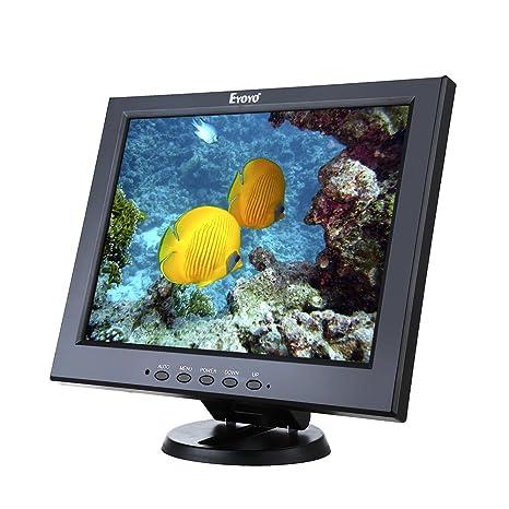 Eyoyo 12 Inch Color Security CCTV Monitor 800X600 4:3 Video and Audio TFT  LCD Display Screen AV/VGA/HDMI/BNC MIC USB Input