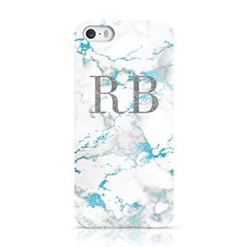 half off d00a8 bc57c PERSONALISED BLUE MARBLE INITIALS MOBILE PHONE CASE FOR APPLE IPHONE 5 5S SE
