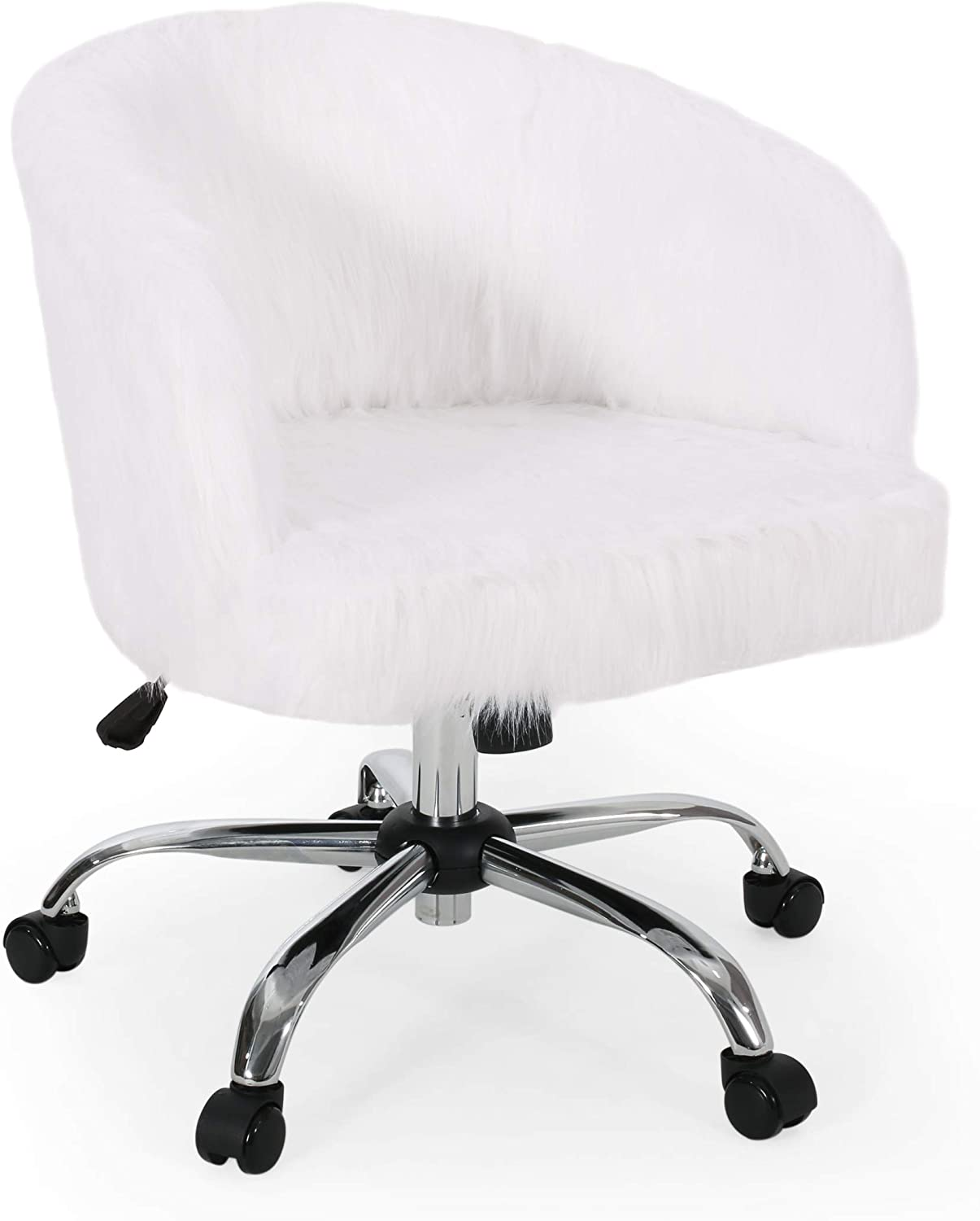 Christopher Knight Home Jacob Modern Glam Swivel Office Chair, White and Silver