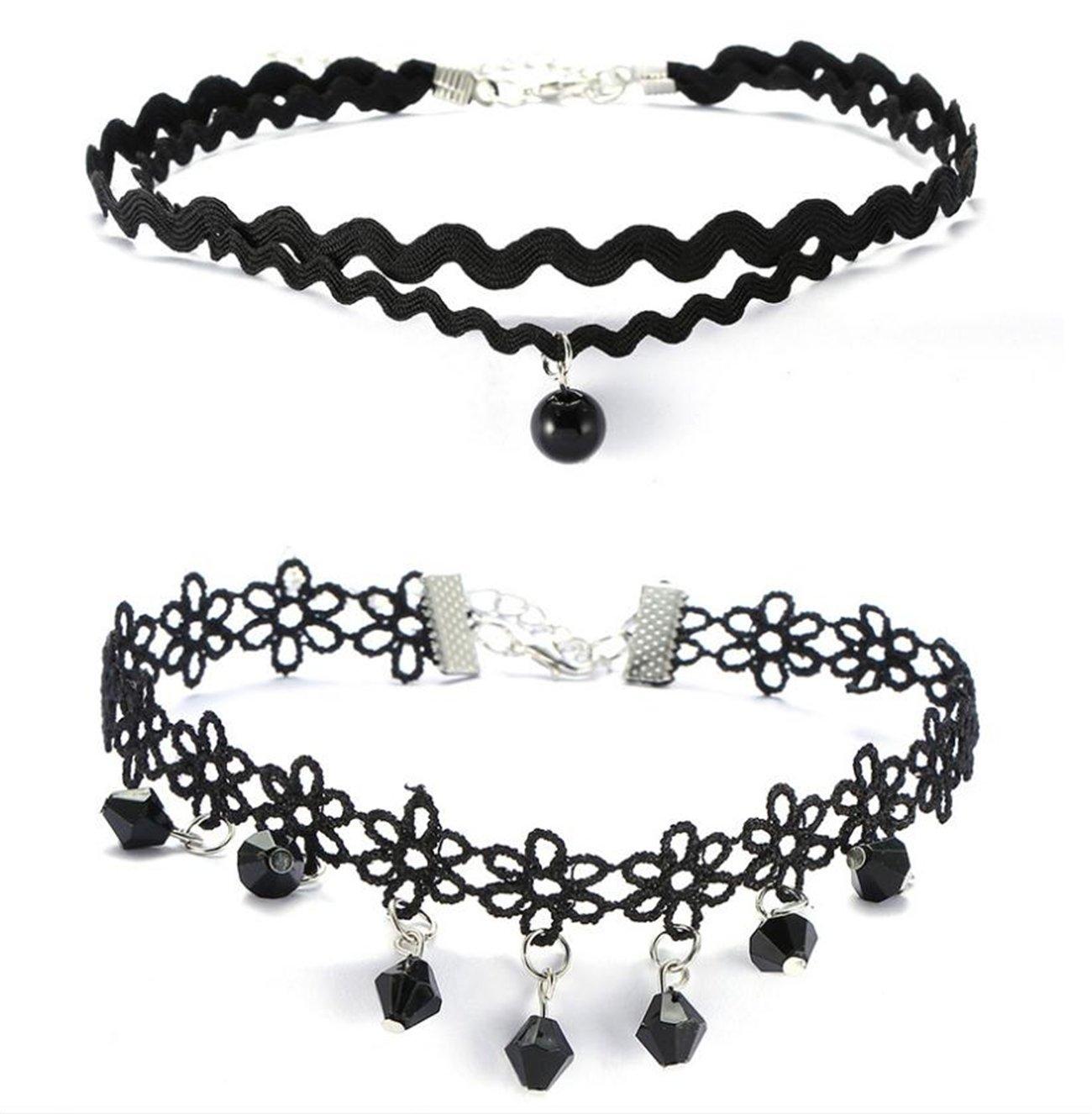 Colore Nero Stile Tatuaggio IHRKleid/® Set di 12 collane Girocollo in Pizzo Vellutato per Ragazze e Ragazze Punk Gotico