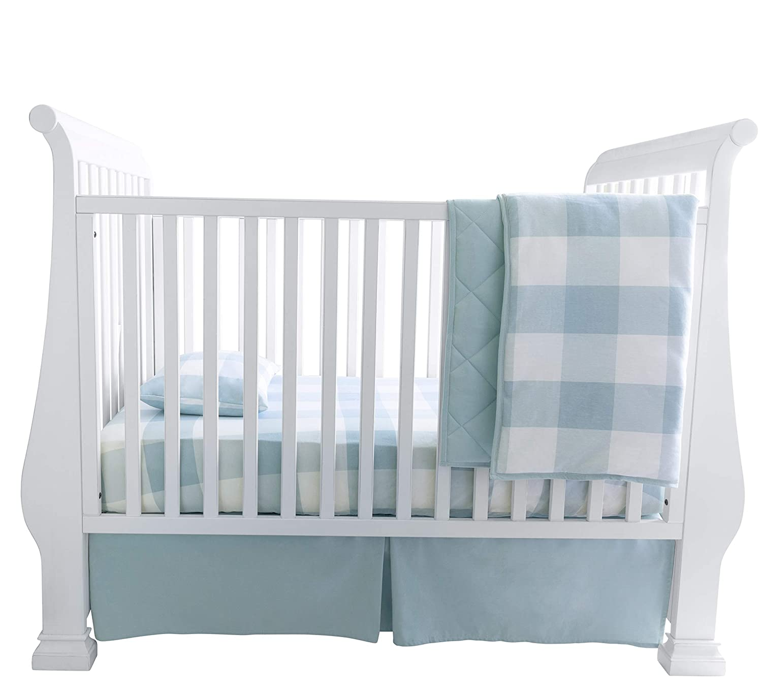 Baby Crib Bedding Sets for Boys and Girls — 4 Piece Set Includes Crib Sheet, Quilted Blanket, Crib Skirt and Baby Pillowcase — Gingham Design in Dusty Blue