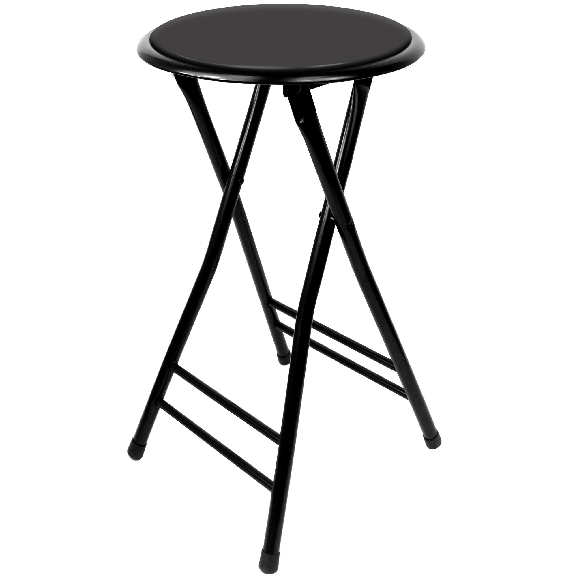 Trademark Home Folding Stool - Heavy Duty 24-Inch Collapsible Padded Round Stool with 300 Pound Capacity for Dorm, Rec Room or Gameroom (Black) by Trademark Home