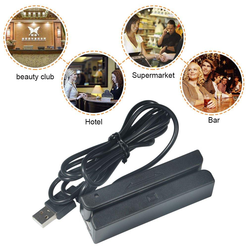 MSR58 USB Three-Track Magnetic Stripe Card Reader Mini Mag Hi-Co Swiper (MSR58) by GOTOTOP