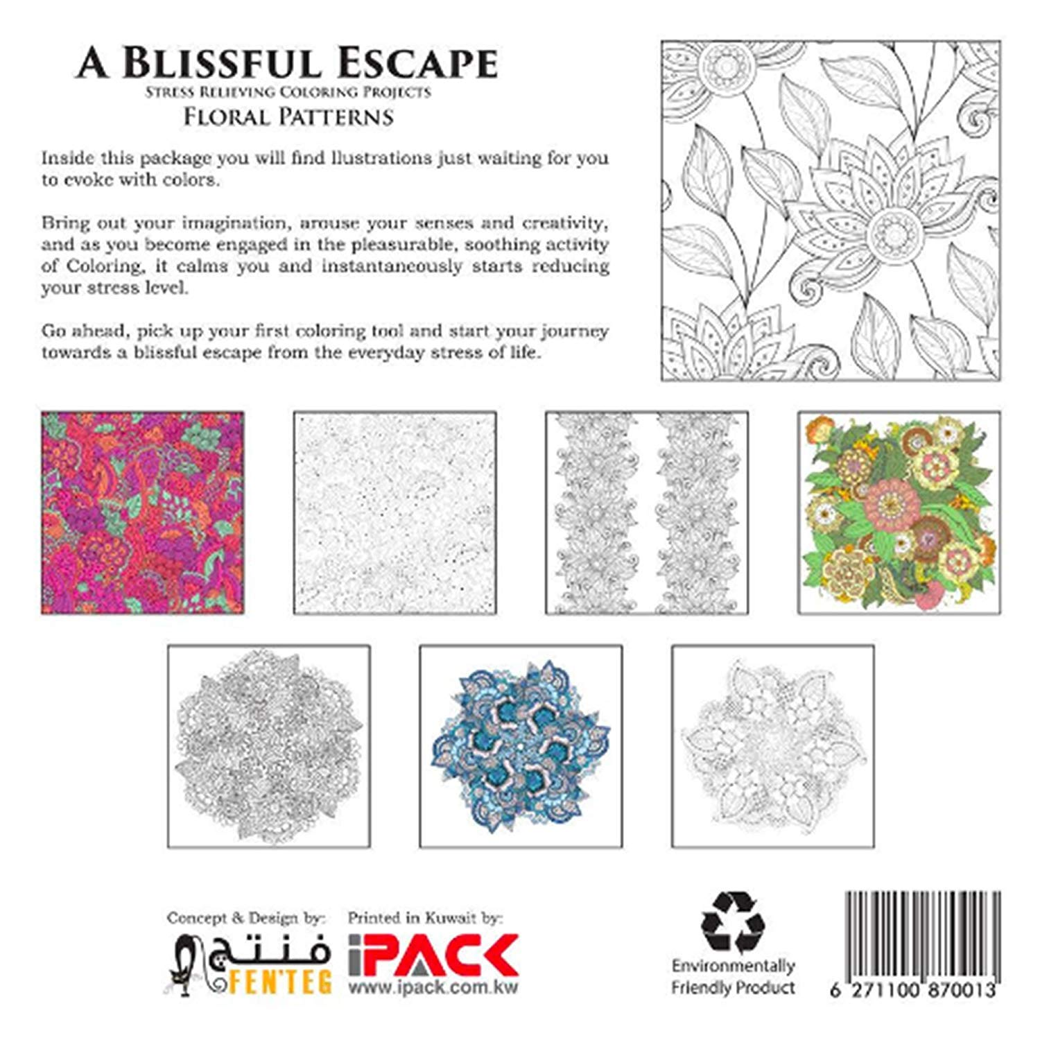 A Blissful Escape - Vol  2 - Floral Patterns Stress Relief Adult Coloring  Books for Relaxation …