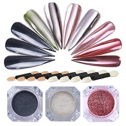 NICOLE DIARY 3 Cajas Cromo Brillante Brillo Espejo Efecto Polvo de Uñas Magic Nail Art Pigmento