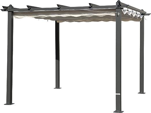 Outflexx Pergola gris aluminio, color crema, 300 x 300 x 20 cm: Amazon.es: Jardín