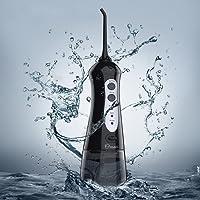 Hydropulseur Jet Dentaire Portable Rechargable Professionnel Sanf Fil, Irrigateur Buccal Electrique avec 6 Buses Rotation 360°+3 Modes de Différents Intensités, Grande Reservoir d'Eau de 200ML (Noir)