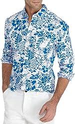6492f263accf Crown   Ivy Long Sleeve Hibiscus Print Stretch Poplin Shirt