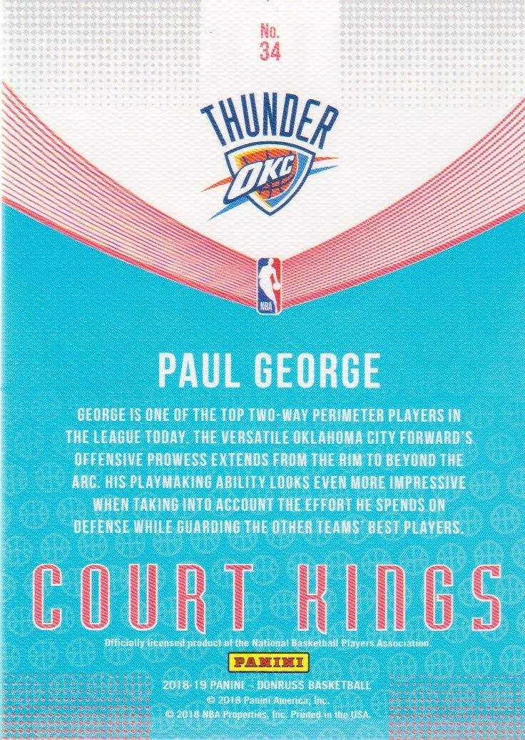 ca3c24310efe2 2018-19 Donruss Basketball Court Kings #34 Paul George Oklahoma City ...