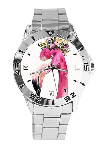 Reloj de Pulsera analógico con diseño de Flamenco, de Cuarzo, Esfera Plateada, Correa clásica de Acero Inoxidable para Hombre y Mujer: Amazon.es: Relojes