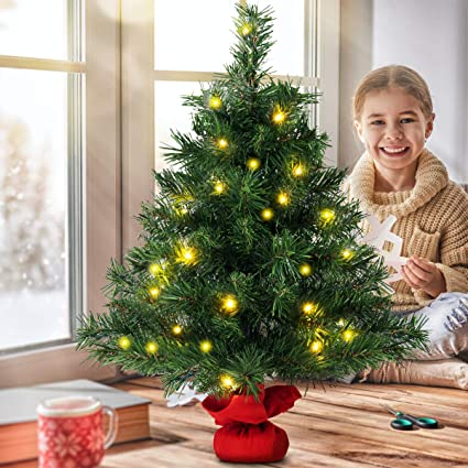 the best attitude 3853c 3e45c COSTWAY 60CM Pre Lit Christmas Tree, 2FT Table Top Artificial Xmas Tree  with Base, Small Indoor Christmas Decoration and Gift