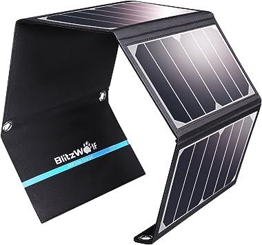 Cargador Panel Solar, BlitzWolf 28W/3.8A Puerto USB Dual Batería Panel Solar para iPhone, Samsung Galaxy, iPad Air/Mini, Cámara, Dispositivos Digitales (Más de 23.5% de Conversión de Energía Solar): Amazon.es: Electrónica
