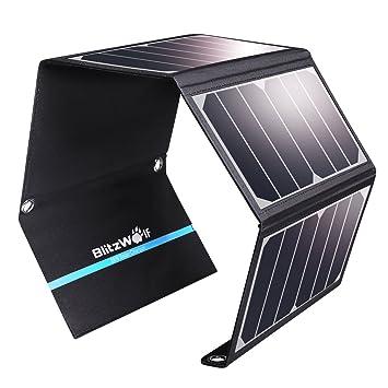 Cargador Panel Solar, BlitzWolf 28W/3.8A Puerto USB Dual Batería Panel Solar para iPhone, Samsung Galaxy, iPad Air/Mini, Cámara, Dispositivos ...