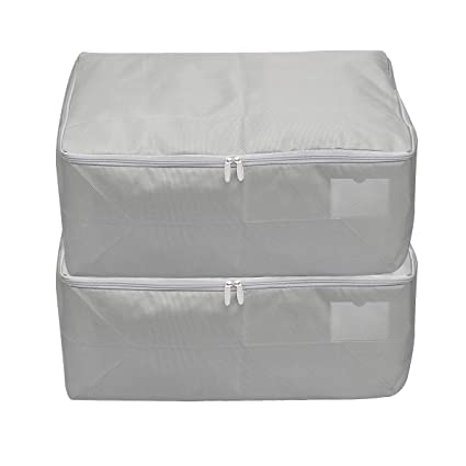 3f8666e23475 iwill CREATE PRO Househould Foldable Breathable Soft Garment Storage Bag,  Light Gray, Pack of 2